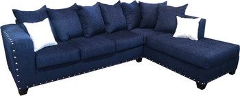 "EXELLA Blue  113"" Wide Sectional"
