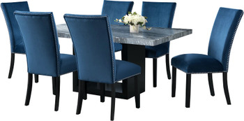 VALERY Gray & Blue 7 Piece Rectangular Dining Set