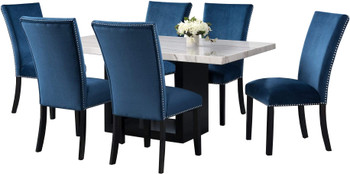 VALERY White & Blue 7 Piece Rectangular Dining Set