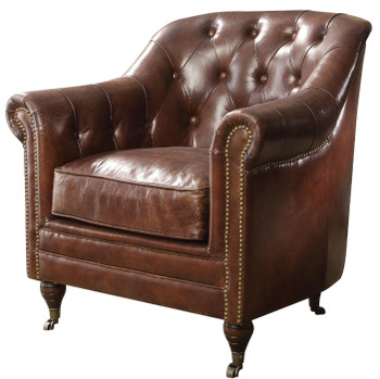 Revolver Top Grain Leather Tufted Chair
