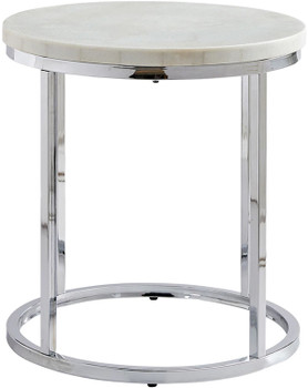 "WESTFORK White Marble 22"" Wide End Table"