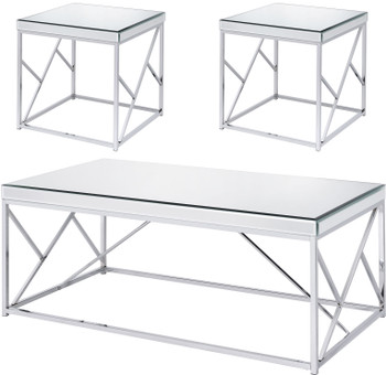 WALTZER Mirrored 3 Piece Table Set