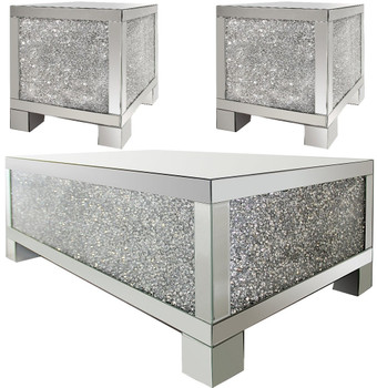 ZARAH Mirrored 3 Piece Table Set
