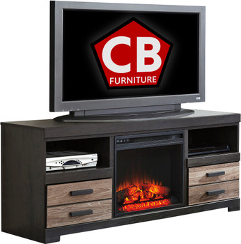 "NEWTON 63"" Wide TV Stand with Fireplace"