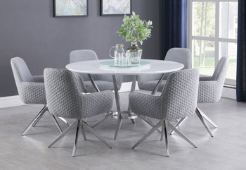 MELENA 7-PC Dining Set with Lazy Susan