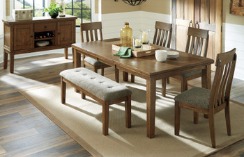NELA Light Brown 6 Piece Dining Set with Bench