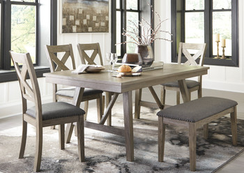 LACHLAN 6 Piece Dining Set with Bench