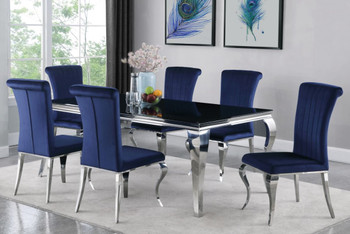 "LONDON 61"" Dk Blue 7 Piece Dining Set"