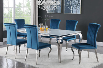 "LONDON 61"" Light Blue 7 Piece Dining Set with White Table"