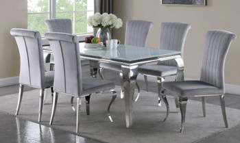 "LONDON 61"" Gray 7 Piece Dining Set with White Table"