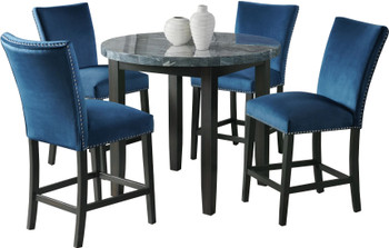 VALERY Gray & Blue 5 Piece Round Counter Height Set