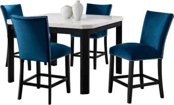 VALERY White & Blue 5 Piece Squared Counter Height Set