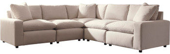 "ELVINA Ivory 114"" x 114"" Five Piece Sectional"