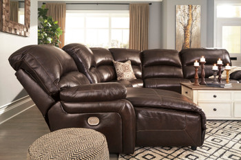 """MAINZ Top-Grain Leather 141"""" Wide Power Reclining Sectional"""