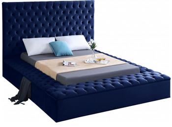 AZELL Blue Velvet Storage Bed