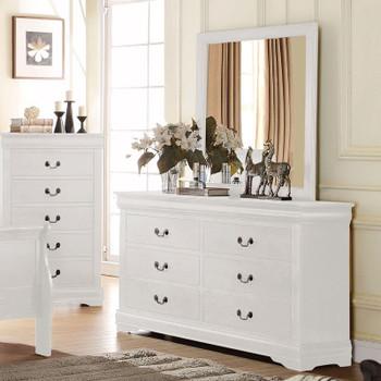 """NIMES White 58.3"""" Wide Dresser & Mirror"""