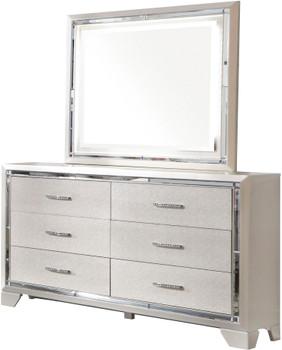 """DEISS Silver 55"""" Wide Dresser & Mirror"""