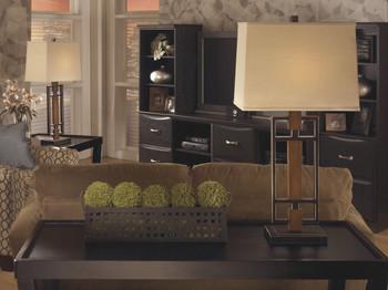 """Omaris Bronze & Wood 32""""H Table Lamp"""