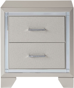 DEISS Silver 2-Drawer Night Stand