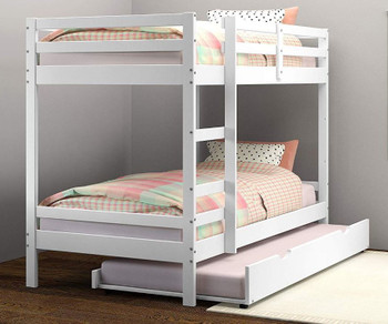 CLARY White Twin Bunkbed with Trundle