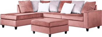 """ZENNA Pink 114"""" Wide Sectional"""
