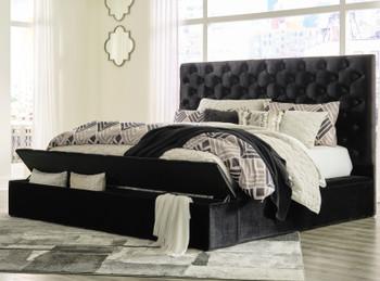 AZELL Black Velvet Storage Bedroom Set