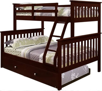 Derik Dark Brown Twin over Full Bunk Bed with Trundle