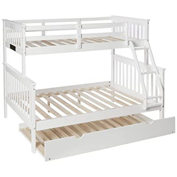 Derik White Twin over Full Bunk Bed with Trundle
