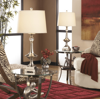 "Newlyn Nickel & Crystal 32""H Table Lamp"