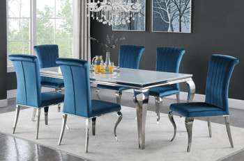 """LONDON Blue 61"""" Wide 7 Piece Dining Set with White Table"""