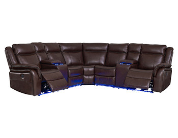 Maxton Brown LED Power Reclining Sectional
