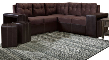 Jazzy Chocolate Sectional With Ottomans