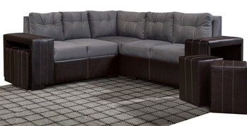 Jazzy Grey Sectional With Ottomans
