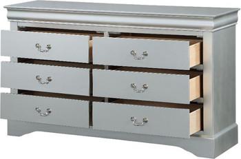 "NIMES Silver 57"" Wide Dresser & Mirror"