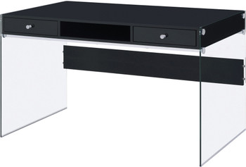 AITZA Black 47'' Wide Glossy White Writing Desk