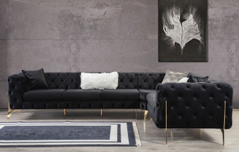 """MELINA 132"""" Wide Black Sectional"""