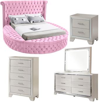 SAMMIE Pink Velvet Storage Bedroom Set