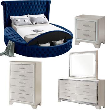 SAMMIE Blue Velvet Storage Bedroom Set