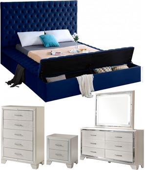 AZELL Blue Velvet Storage Bedroom Set