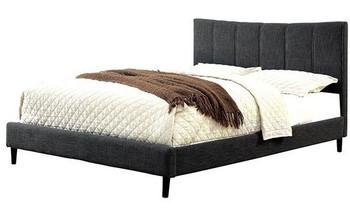 JENKINS Gray Upholstered Bed