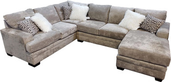 """PARAMOUNT Light Gray 125"""" Wide Reversible Sectional"""