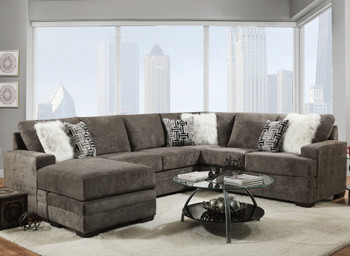 """PARAMOUNT Dark Gray 125"""" Wide Reversible Sectional"""