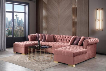 Hurley Velvet Pink Gray Double Chaise Sectional