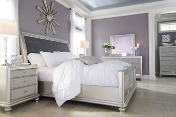 ELENA Queen Mirror Silver Clearance Bed