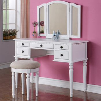 BELLE White Vanity with Stool