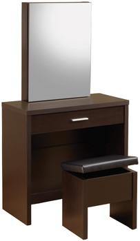 Demi Brown Hidden Storage Vanity with Stool