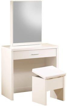 Demi White Hidden Storage Vanity with Stool