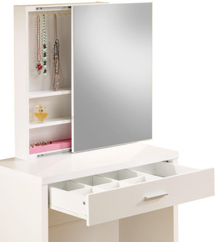 Demi White Hidden Storage Vanity with Stool