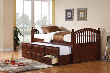 Elmer Chestnut Captain Bed w/Trundle and Storage Drawers