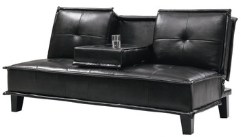 """DONALD Black Leather 71"""" Wide Sofa Bed with Cupholders"""